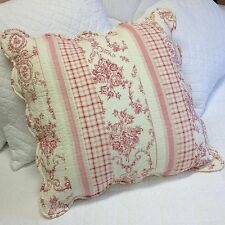 """Shabby Chic Toile Euro Pillow Sham Case Cover Pink Quilted 60x60cm (24x24"""")"""