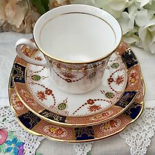 COLCLOUGH BONE CHINA 1940s CUP SAUCER PLATE TRIO SET 6699 BLUE TAN IMARI GILDING