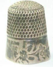 ANTIQUE GOLDSMITH & STERN STERLING SILVER FANCY FLOWER THIMBLE SIZE 10