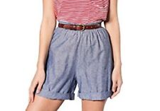 American Apparel Very High Waisted Cuffed Chambray Shorts XS