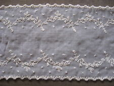 5 YDS LOVELY SCALLOPED WHITE RAYON EMBROIDERED ON VOILE COTTON.