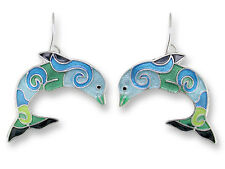 Zarah Zarlite Wave Dancer DOLPHIN EARRINGS Silver Plated Dangle NEW - Gift Boxed
