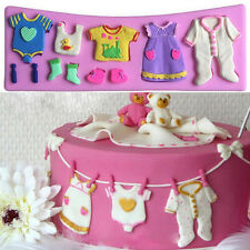 3D Baby Clothes Shower Silicone Mould Fondant Kitchen Cake Mold Chocolate Bakin