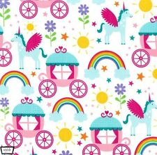 Michael Miller Fabric. Rainbows & Unicorns in Princess. By the FQ
