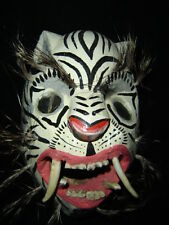 193 TIGER WHITE WOODEN MASK  tigre wild animal handcraft wall decor artesania