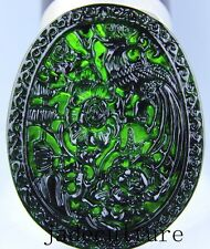 Chinese natural black green jade jadeite pendant necklace hand-carved phoenix