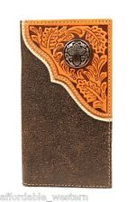 CROSS Brown Crackle Leather ~ Nocona® RODEO WALLET Checkbook Silver 16