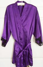 Fredericks of Hollywood purple wrap style purple robe with black lace