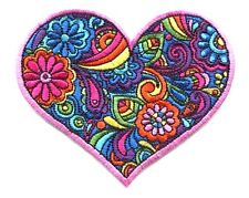 HEART colorful paisley EMBROIDERED IRON-ON PATCH ,peace love flowers hippie 70's