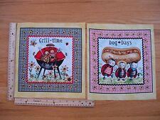 Grill Time Bar B Q Hot Dog Days Picnic Ladybugs Cotton Quilt Fabric Blocks (2)