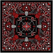 "RED Paisley Skull Bandana measures 21""x 21"" High Quality BIKER Doo Rag BAN-0134"