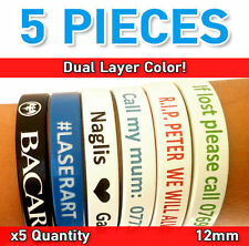 Custom Personalized Silicone Wristband Dual Color Debossed Wholesale Bands 12mm