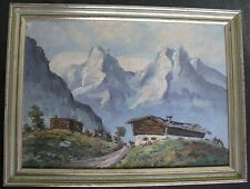Swiss? Vintage Old German Alps Mountain Oil Painting House Signed Framed