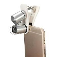 Silver 60X Zoom LED Digital Microscope Lens Case with Clip for iPhone SmartPhone