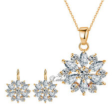 Fashion Crystal 18K Gold Plated White Rhinestone Necklace Earring Jewelry Sets