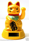 "GOLD Solar Powered FENG SHUI Gold Lucky Beckoning Waving Cat Maneki Neko 5""tall"