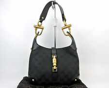 AUTHENTIC GUCCI JACKIE GG BLACK GG CANVAS x LEATHER MINI SHOULDER HAND BAG