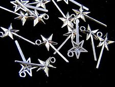 15 Pcs - 26mm Tibetan Silver Fairy Star Magic Wand Wish Charms Godmother E187