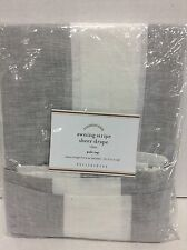 1 Pottery Barn Awning Stripe Linen Sheer Drapes Curtains Panels Taupe 50x84 Gray