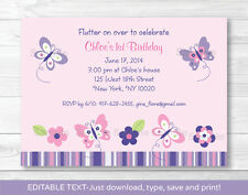 Pink Purple Butterfly Garden Printable Birthday Invitation Editable PDF
