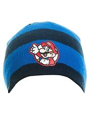 Nintendo Super Mario Blue & Black Stripe Beanie Hat One Size Gamer Xmas Gift