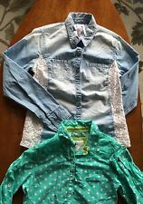 LOT X2 Girl's JUSTICE button-down shirts size 14 Mint Polka-dot; Jeans & Lace