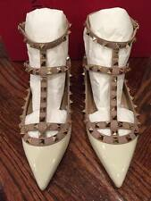 NIB Valentino Rockstud Patent White Leather T Strap Cage Ballet Flat 38.5 $995