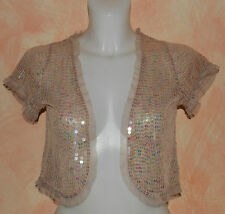 ❤❤ River Island beige all over sequin cap sleeve non fastening shrug size 12 ❤❤