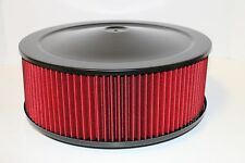 """14"""" X 5"""" Round Black Washable Red Air Cleaner Assembly Flat Base SBC 350 BBC 454"""
