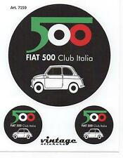 TRIS STICKERS ADESIVI LOGO STEMMA BADGE D'EPOCA VINTAGE FIAT CLUB 500
