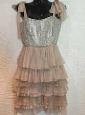 NEW WITH TAGS  ALICE + OLIVIA NUDE PINK STUDDED DIAMOND SILK DRESS RACES $597