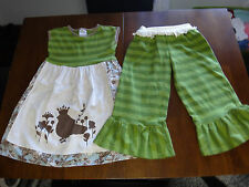 Girls Persnickety outfit big ruffle short capri 7 apron bird tunic-dress 6/rare