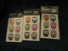 NEW (3) Kikkerland Set of 6 Owl Magnets