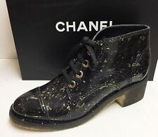 Chanel 15S Patent Cork Black Lace Up  Booties Sneakers Boots Shoes 41