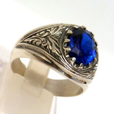Unique, Hand Carved, 925 S.Silver Sapphire Stone Men's Ring Sz 9.5 us #0614