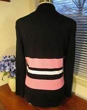 NWT Misook Acrylic Black with Pink and White Stripes Button Jacket Sz S