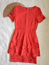 ASOS Dress Coral Orange Floral Laser Cutouts Tiered Hem Short Sleeve Stretch 6