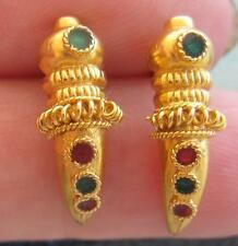 STUNNING UNUSUAL 18 CT RUBY EMERALD MOORISH DAGGER EARRINGS