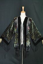E0019 Classic Black Fringe Jacket Burnout Silk Velvet Coat - Peacock Duster