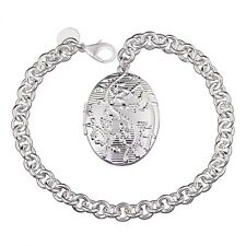 "Unique & Elegant Pure 925 Sterling Silver Oval Shape Locket 8"" Bracelet #005"