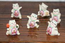 Set of 6 Japanese Maneki Neko Figurine Cute Dancing Waving Lucky Fortune Cat