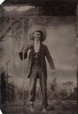 FISHERMAN ~ CANE POLE ~ STRING OF FISH ~ FORMAL ATTIRE ~ c. - 1870