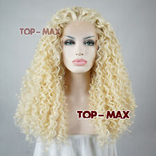 Women Light Blonde Long Heat Resistant 24 Inches Lace Front Hair Curly Full Wig