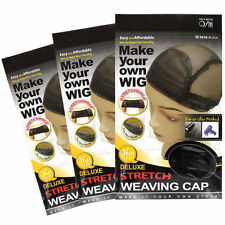 Lot of 3 Qfitt Deluxe Stretch Weaving Cap #5018 Black Make Your Own Wig