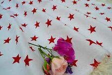 Large Red Stars on White 100% Fine Cotton Art Fabric sold per Fat Quater