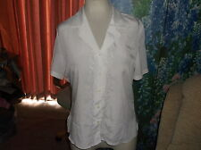 ladies top BRITISH HOME STORES ivory short slvs collar embroidered blouse sz 14