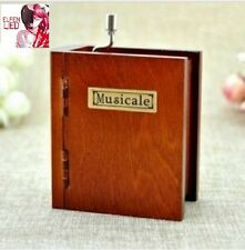 WOODEN BOOK HAND CRANK MUSIC BOX : Elfen Lied - Lilium