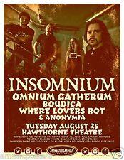 INSOMNIUM / OMNIUM GATHERUM / BOUDICA/ANONYMIA 2015 PORTLAND CONCERT TOUR POSTER