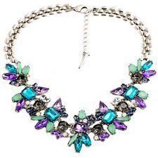 Women's Jewelry Rhinestone Flower Cluster Bib Choker Fashion Pendant Necklace