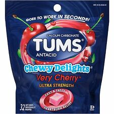 TUMS Chewy Delights Antacid Relief Calcium Soft Chews, Very Cherry, 32 Pieces